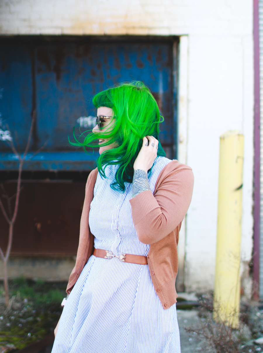 green hair, what I wore, fashion post, cleveland fashion blog