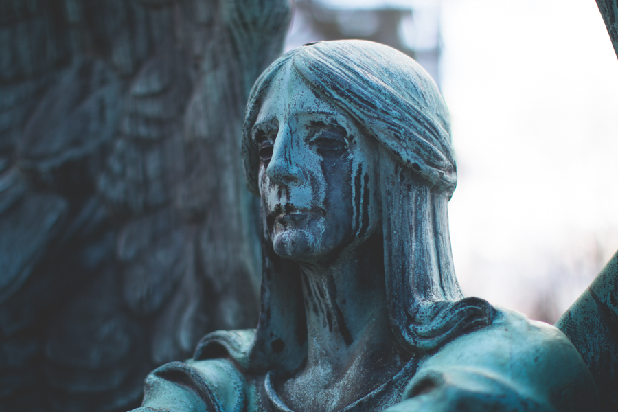 angel of death victorious, haserot, crying angel, headstone, cleveland, lakeview