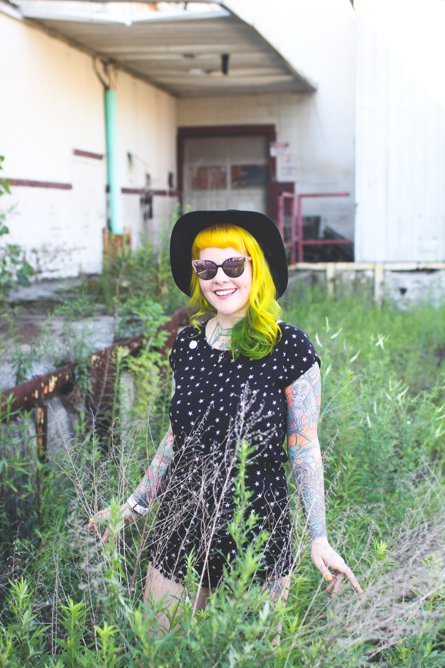 romper, yellow hair, yellow and green hair, cleveland blogger