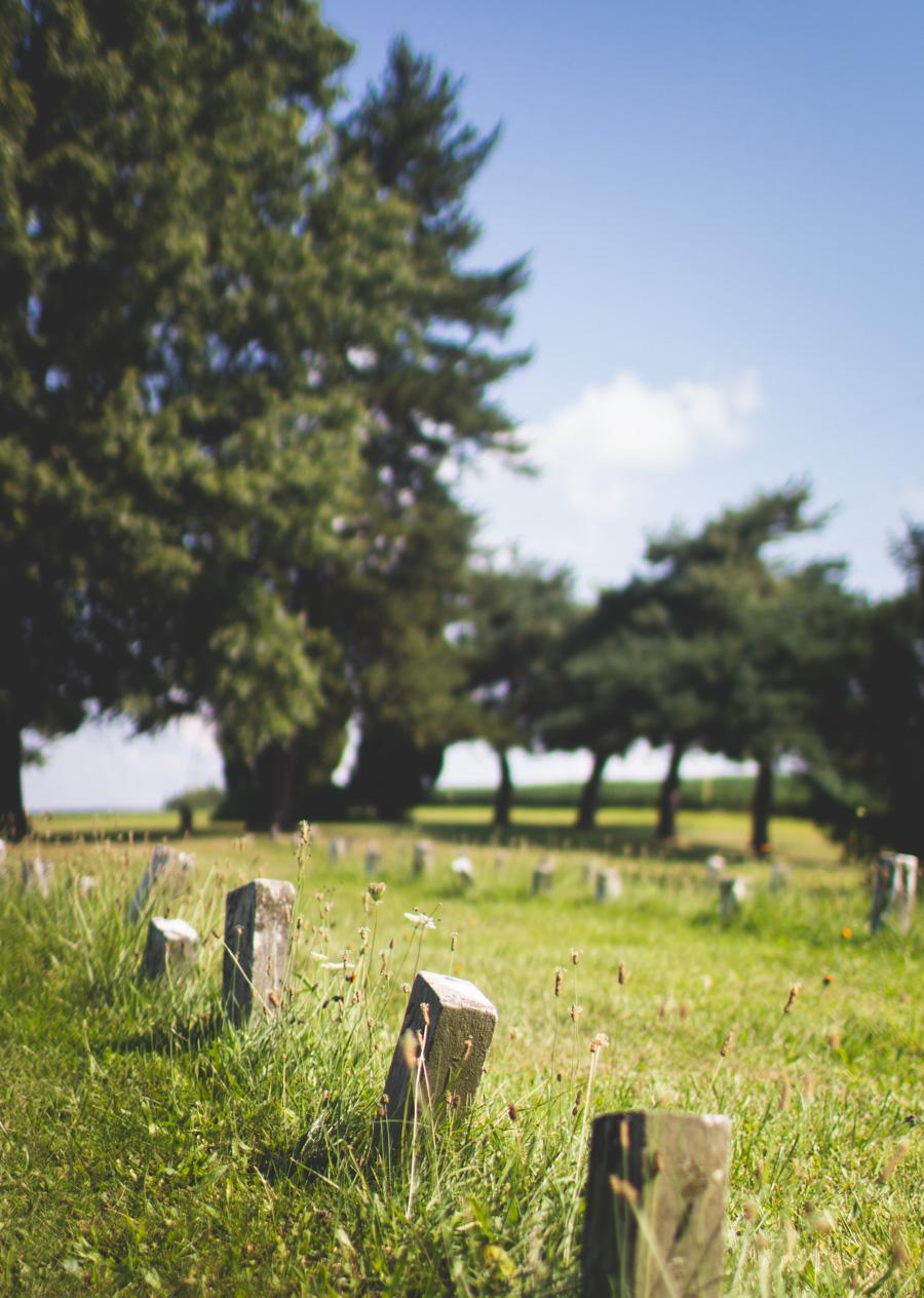 ohio, cemetery, rows of headstones