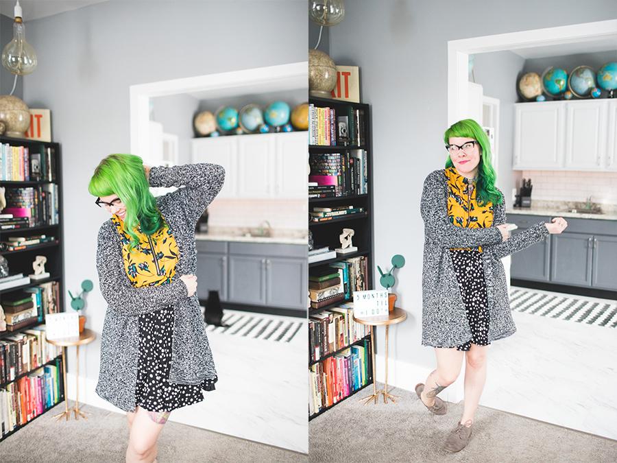 dainty squid, kaylah doolan, green hair, ootd, pattern clashing