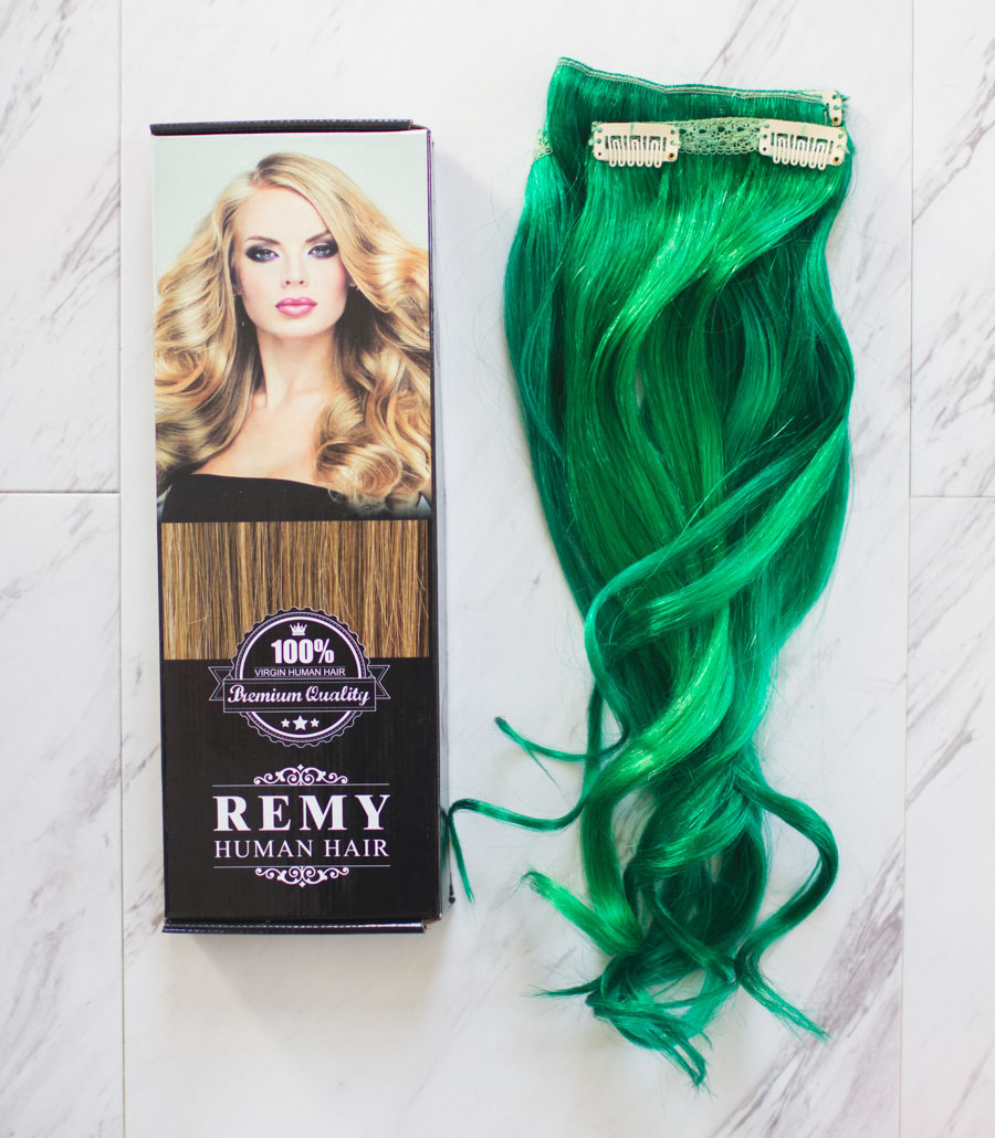 green hair clip in extensions