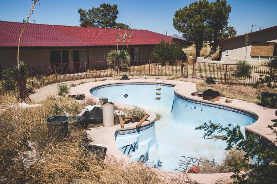 Desert West Motel, abandoned, swimming pool