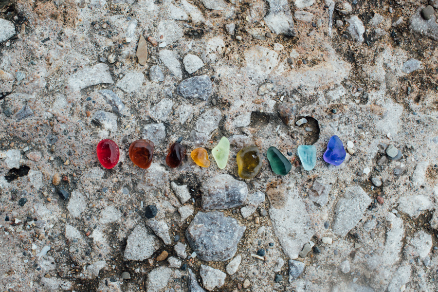 rainbow beach glass, lake erie