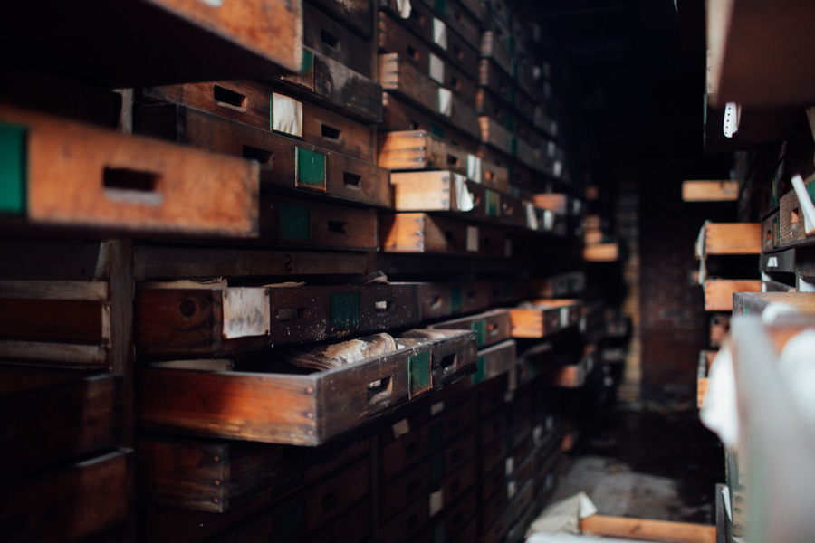 drawers in an abandoned factory