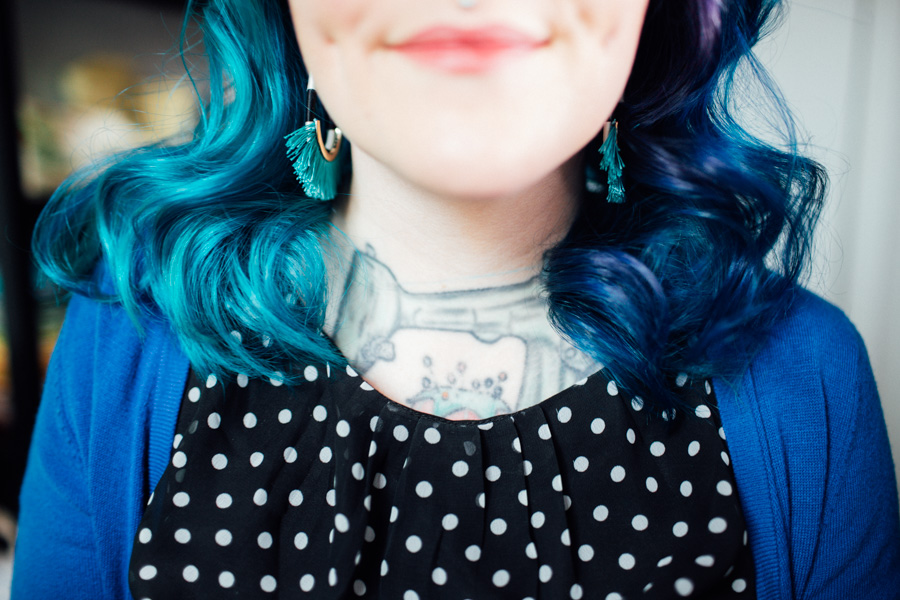 half and half blue hair