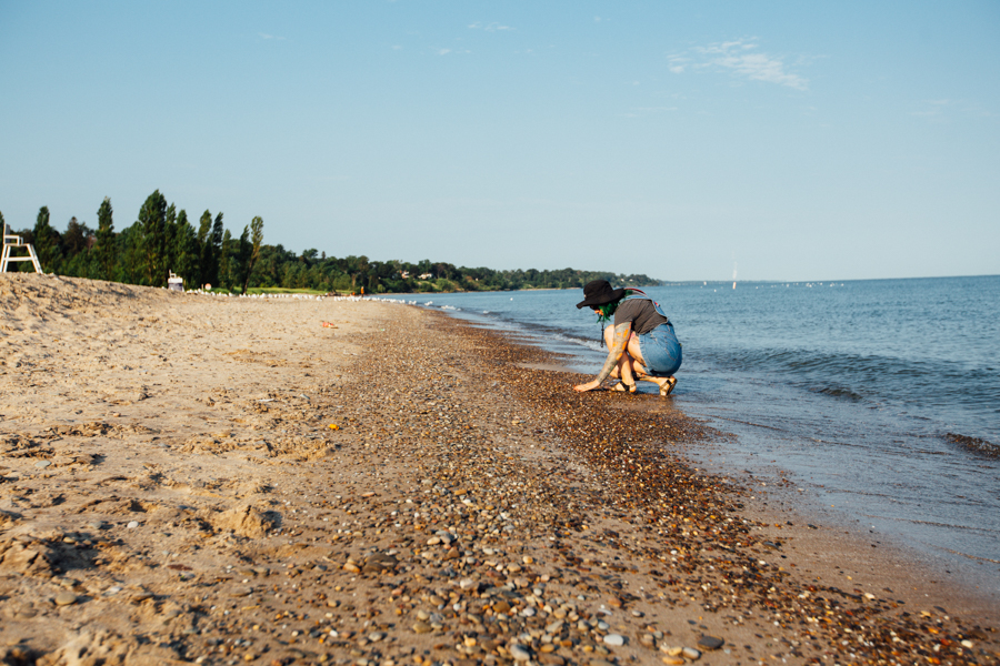 Searching for beach glass at Walnut Beach.